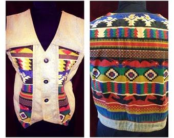 """Amazing Vintage """"Jou Jou"""" Navajo Denim Vest"""