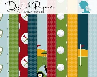 Golf Digital Scrapbooking Paper Pack, Buy 2 Get 1 FREE. Instant Download