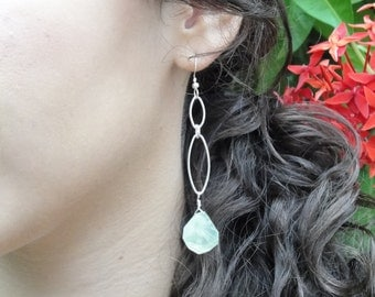 Delicate Sterling Silver Earrings with Rustic Soft Green Quartz