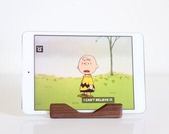 Ipad Mini Stand, Walnut Ipad Mini Stand, wood ipad mini stand, iPad mini dock