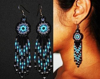 Native American Beaded Earrings, Native American Beaded Jewelry, Huichol Earrings, Huichol Beadwork, Small Dangle Earrings, Black Turquoise