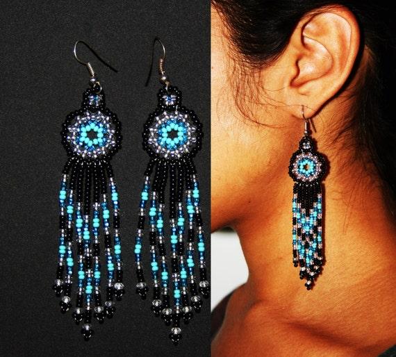 Native American Style Beaded Earrings, Huichol Beaded Jewelry, Huichol Earrings, Huichol Beadwork, Small Dangle Earrings, Black Turquoise