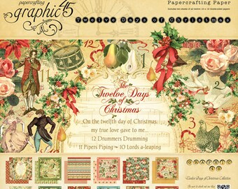 Graphic 45 12 Days of Christmas - 12 x 12 Paper - 12 Sheets (1 each pattern)