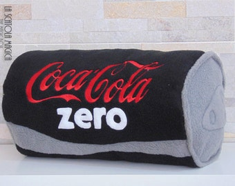 Drink Pillow - Coca cola ZERO black can pillow in Polyester Fleece - Food and Drink pillow handmade