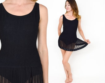 80s Black Bathing Suit | Pleated One Piece Swimsuit | Esther Williams Swimwear | Small