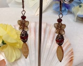 Hawaiian Plumeria Beige Flower,Ox-blood,Bone Dangle Drop Earrings!