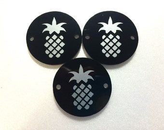 """Silver Pineapple on Black Discs - Pick your disc color choice - 1.25"""" bead - bangle bead jewelry making"""