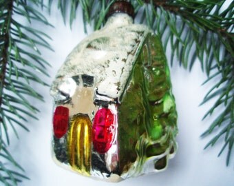 House in the woods Small hut Сabin Christmas Glass Ornament Christmas Ornaments Decorations Antique Collectible