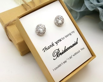 Bridesmaid Jewelry Earrings ,Bridesmaid Gift,Maid of Honor Jewelry Gift Box, Halo Earrings #1