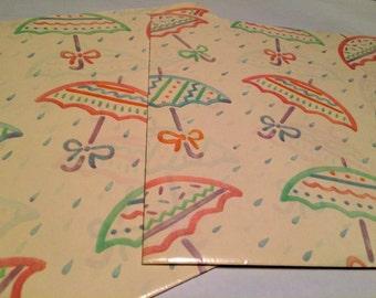 April Showers Gift Wrap, White, Rain, Umbrellas, 2 Sheets