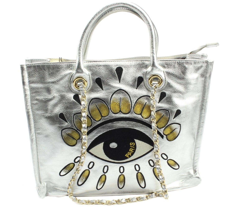 Evil Eye Paris Designer Handbag Silver Leather Purse Silver