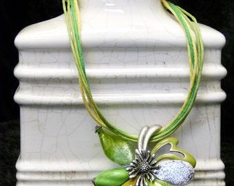 Green Murano Glass Flower Necklace Set