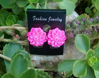 Beautiful pink dahlia earrings