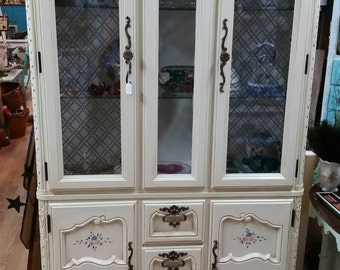 Country French, Cottage Chic China Hutch, China Cabinet, Shabby Chic China Hutch, Lighted! Heavy, Solid Wood.