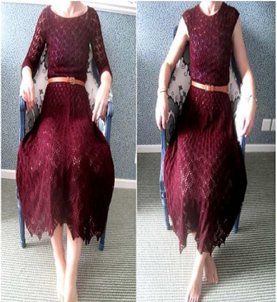 Knitting Patterns Lace Dress : Ladies Lace Dress Knitting Pattern PDF Instant Download