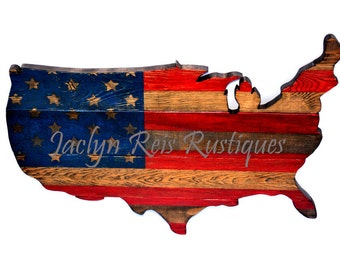 American Flag Art, Rustic Wood, USA Flag, American Flag Vintage, Patriotic, USA Map, Red White Blue, Pallet Wood Sign