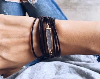 Leather bracelet - druzy bracelet - bohemian bracelet - leather wrap - wrap bracelet - druzy leather bracelet