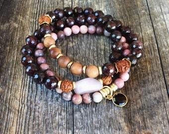 Garnet bracelet - beaded bracelet set - gemstone set - stretch bracelet - charm bracelet - gemstone beaded bracelet
