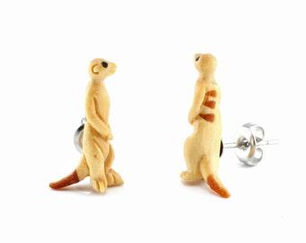 "Hand Carved - ""Meerkat"" - Jackfruit with Sabo Wood and Ebony Wood Inlay Stud Earring- Desert Life"