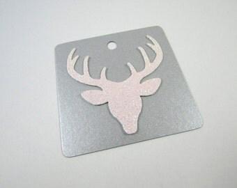 Reindeer Gift Tags, Christmas Gift Tags, SET OF 6, Handmade Tags, Glitter gift Tags