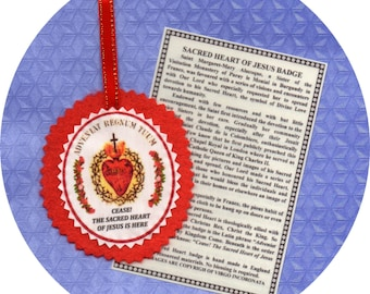 SACRED HEART of JESUS new hand made sewn felt badge and explanatory card. Great Traditional Catholic Sacramental. Free post to uk or Ireland