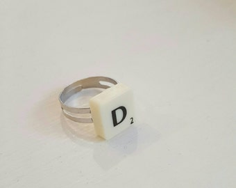 Personalized ring, initial ring, custom ring, scrabble ring, adjustable ring, scrabble gifts, gift for her, party bag filler, party bag gift