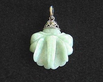 Vintage Sterling Silver Flower Jadeite Jade Pendant