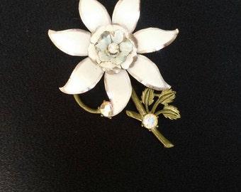 Large lily brooch enamel rhinestones