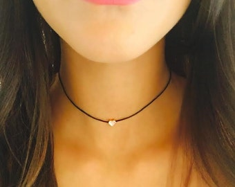 Gold Plated heart choker, Heart necklace, Delicate heart necklace, Beaded heart choker, Love heart necklace, Black cord choker, Gift for her