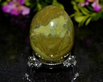 Top quality Gemmy Green Serpentine 61 mm Crystal Egg - from Peru