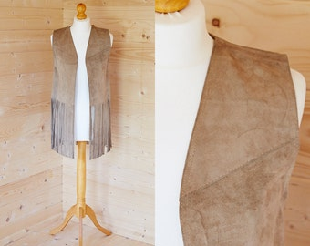 1960's/1970's suede fringed waistcoat
