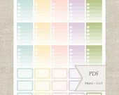 Spring Ombre & Half Boxes Printable PDF Planner Stickers~Erin Condren vertical planner sizes