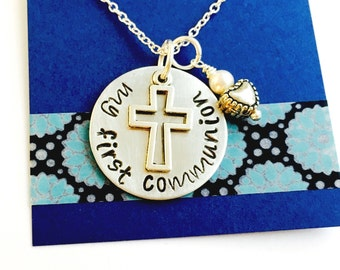 First Holy Communion Hand Stamped  Necklace Confirmation Necklace Personalized Cross Necklace Baptism  Necklace Cross Cham Necklace