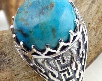 MAN ring, TURQUOISE, turquoise jewelry, gemstone jewelry natural protection silver qc25.2