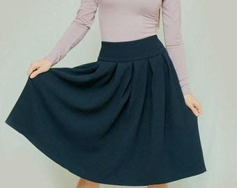 Dark blue skirt Classic Skirt Office clothing everyday skirt business woman clothes Midi skirt folds Occasion skirt