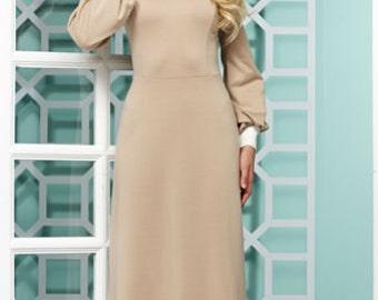 Beige Contrast dress Peter Pan collar Maxi Long black dress long sleeves Autumn dress Dress for woman