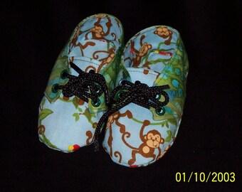 Baby Boy Monkey Print  Sneaker Style Fabric Booties