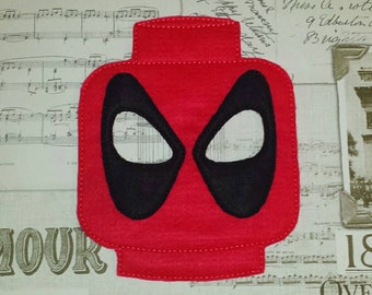 Lego Deadpool super hero inspired mask ITH Project In the Hoop Embroidery Design Costume, Cosplay Fancy dress Masquerade, Photo booth, Prop.