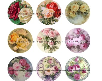 Instant Download Roses 25mm 1inch Circles - Digital Collage Sheet