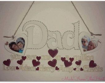 Personalised Hanging Dad Photo Frame