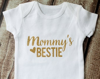 Baby Girl Outfit, Mommy's Bestie, Mother's Day, Baby Shower Gift, Baby Girl Clothes, Baby Girl Onesie,  Mother's Day Gift,
