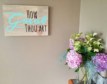 16x11 How Great Thou Art - Hymn- Painted Wood Sign