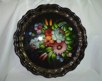 Black Metal Serving or Decorative Tray