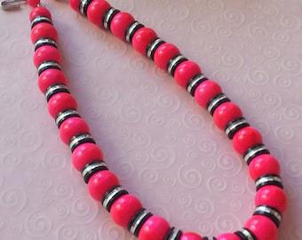 Pink Vendome Lucite Necklace Vintage Mid Century 1960s