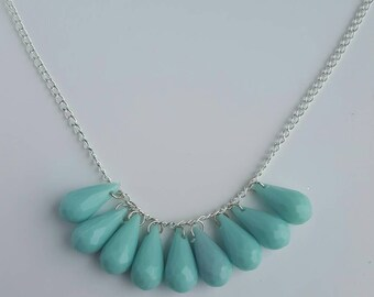 Pale turquoise blue beaded silver necklace