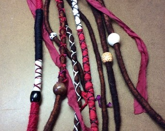 Double ended Brown Dreads/Accent kit/Brown Dreadlocks/Red wrapped dreads
