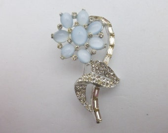 Flower brooch with blue moon glow glass cabochons AA976