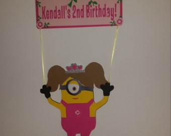 Girl Minion Party Decorations, Girl Minion Sign