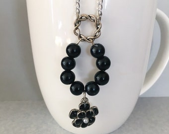 Black beaded necklace, black necklace, chain necklace, flower necklace, beaded necklace, pendant necklace