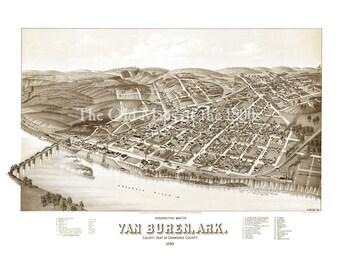 Van Buren, Arkansas in 1888 - Bird's Eye View Map, Aerial map, Panorama, Vintage map, Antique map, Reproduction, Giclée, Wall map, Fine Art